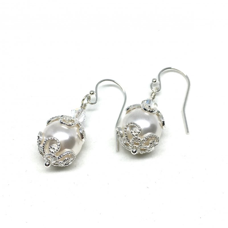 Large Pearl Silver Filigree Bridal Earrings