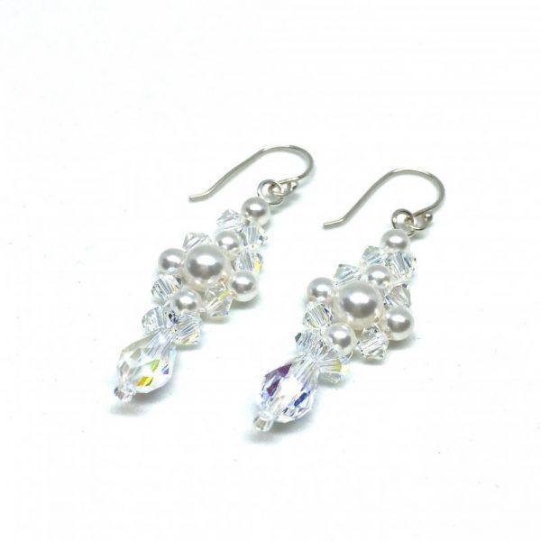 Long Dangle Pearl Cluster Earrings Pearl and Crystal Bridal Earrings