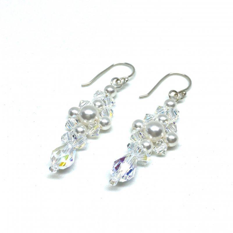 Long Dangle Pearl Cluster Earrings Pearl and Crystal Bridal Earrings