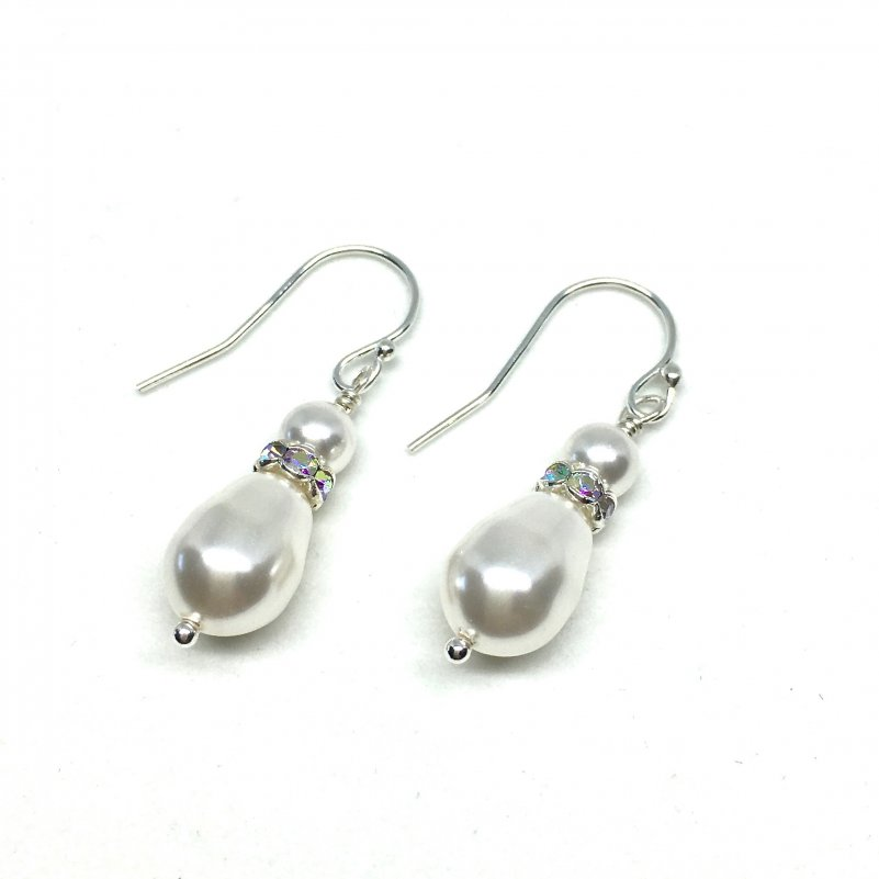 Bridal Earrings Teardrop Pearl