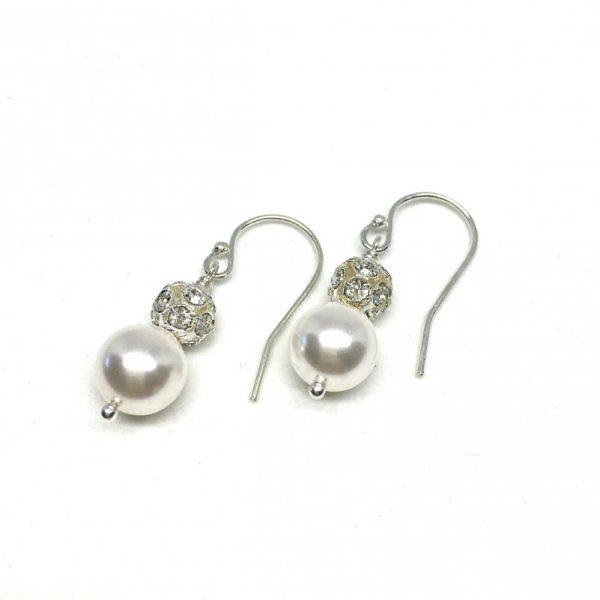 Pearl Dangle Earrings Pave Crystal Ball Hannah