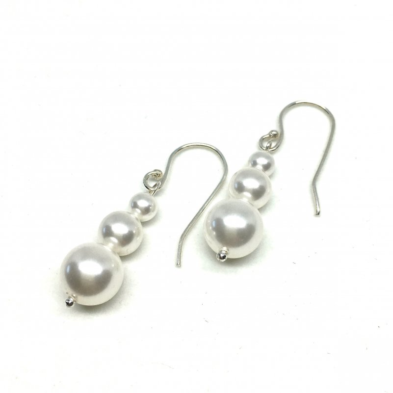 Graduated Pearl Dangle Bridal Earrings, Stacked Pearls, Sterling Silver