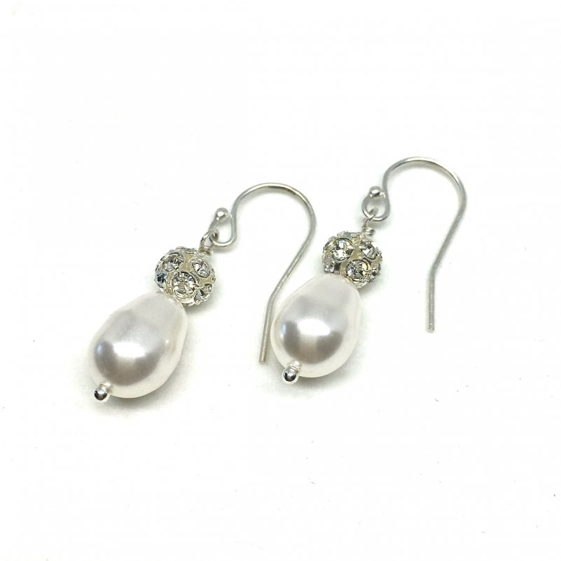 Teardrop Pearl Bridal earrings with Pave Crystal Ball Accent and Sterling Silver Wires