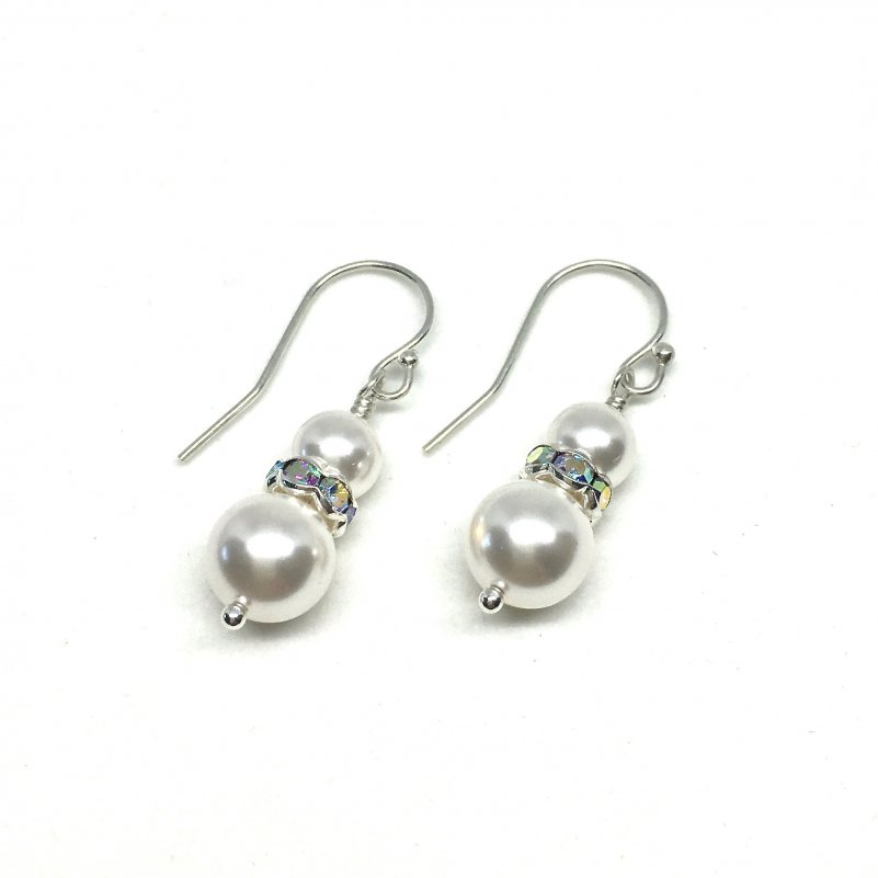 Dangle Pearl Earrings Two Pearl with Channel set crystals between pearls Sterling Silver