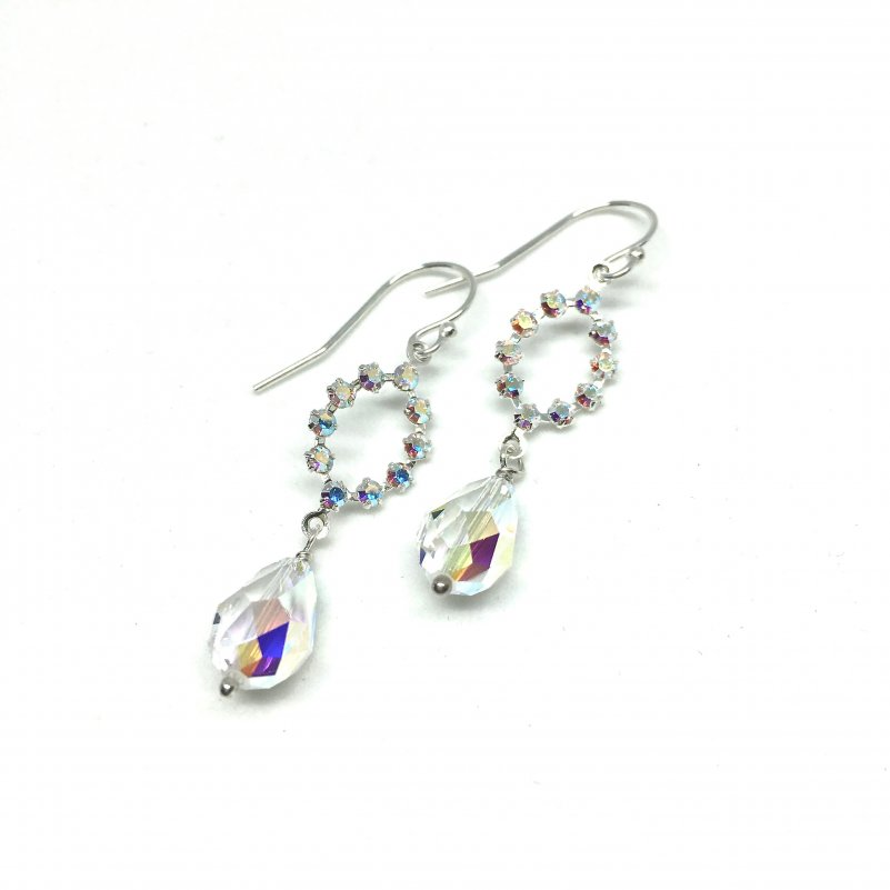 Oval Drop Earrings With Swarovski Teardrops