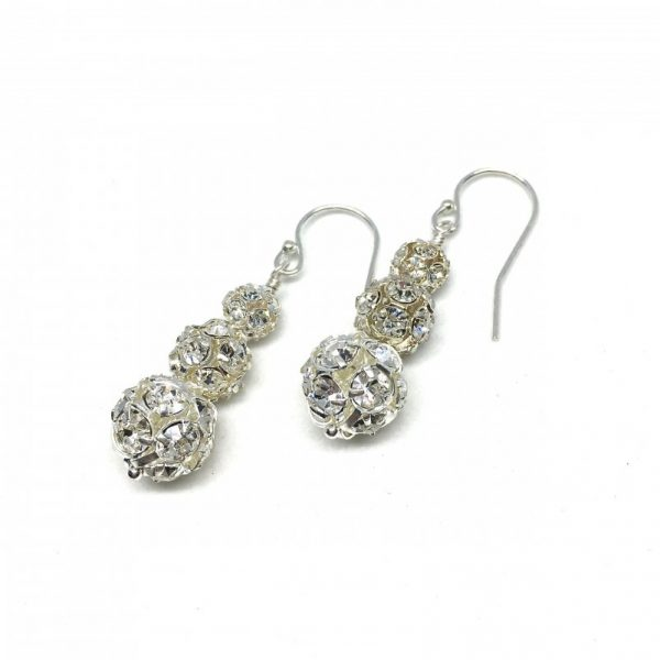 Sparkly Dangle Earrings Graduated Pave Ball Bridal Prom Silver Drop