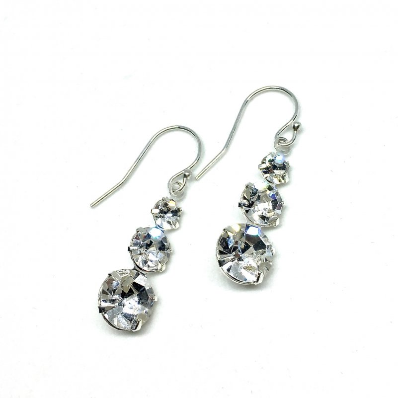 Three Stone Drop Earrings Swarovski Silver Dangle