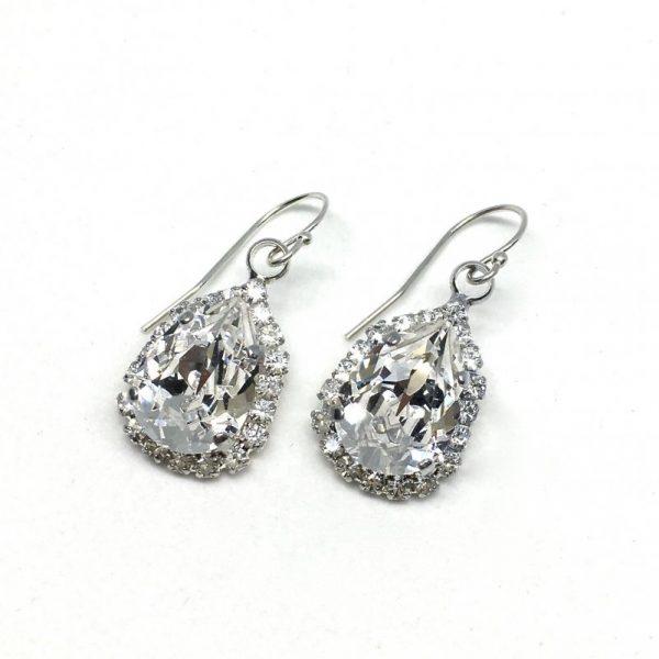 Pear Shaped Halo Bridal Earrings