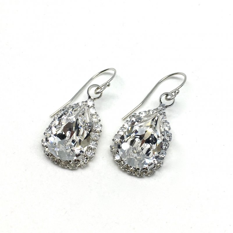 Pear Shaped Halo Bridal Earrings