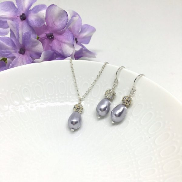 Lilac Jewelry Light Purple Teardrop Pearl With Pave Ball