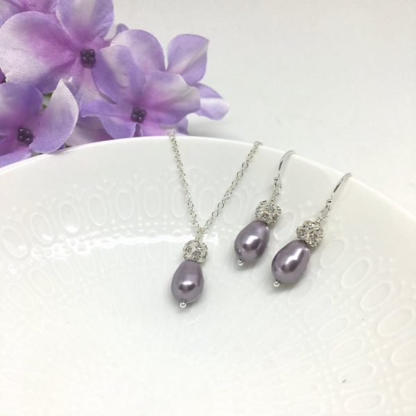 Orchid Jewelry for Bridesmaids Teardrop Pearl Pave Ball Sterling Silver