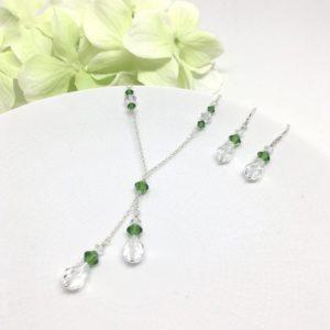 Green Jewelry Set Lariat Necklace Swarovski Crystal Sterling Silver
