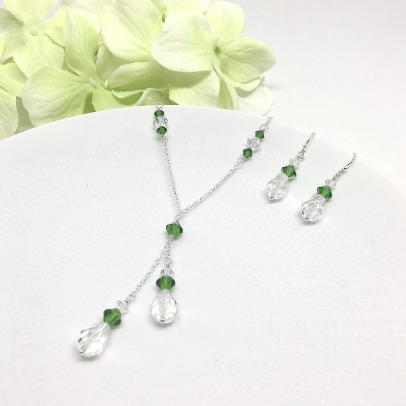 Green Jewelry Set Lariat Necklace Swarovski Crystal Sterling Silver
