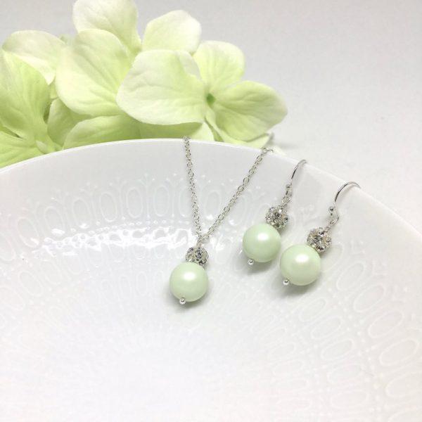 Light Green Jewelry Swarovski Pearl Sterling Silver