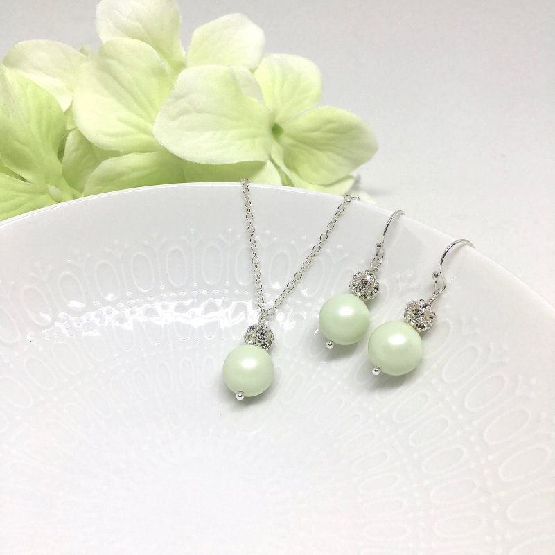 Light Green Jewelry Swarovski Pearl Sterling Silver