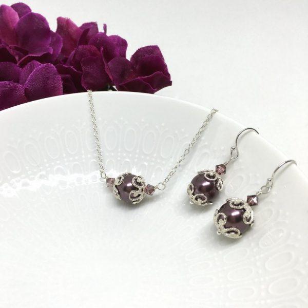 Burgundy Jewelry Pearl Bridesmaid Jewelry