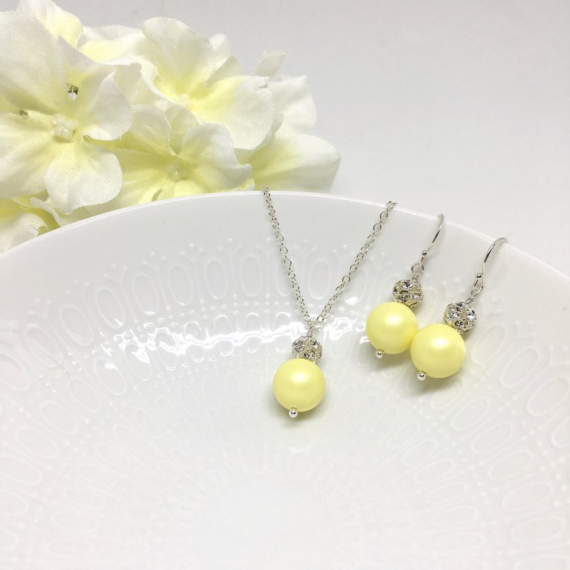 Light Yellow pearl bridesmaid Jewelry