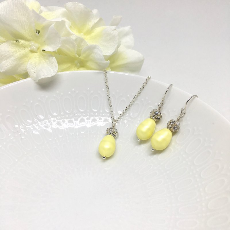 Yellow Jewelry Set Bridesmaid Jewelry