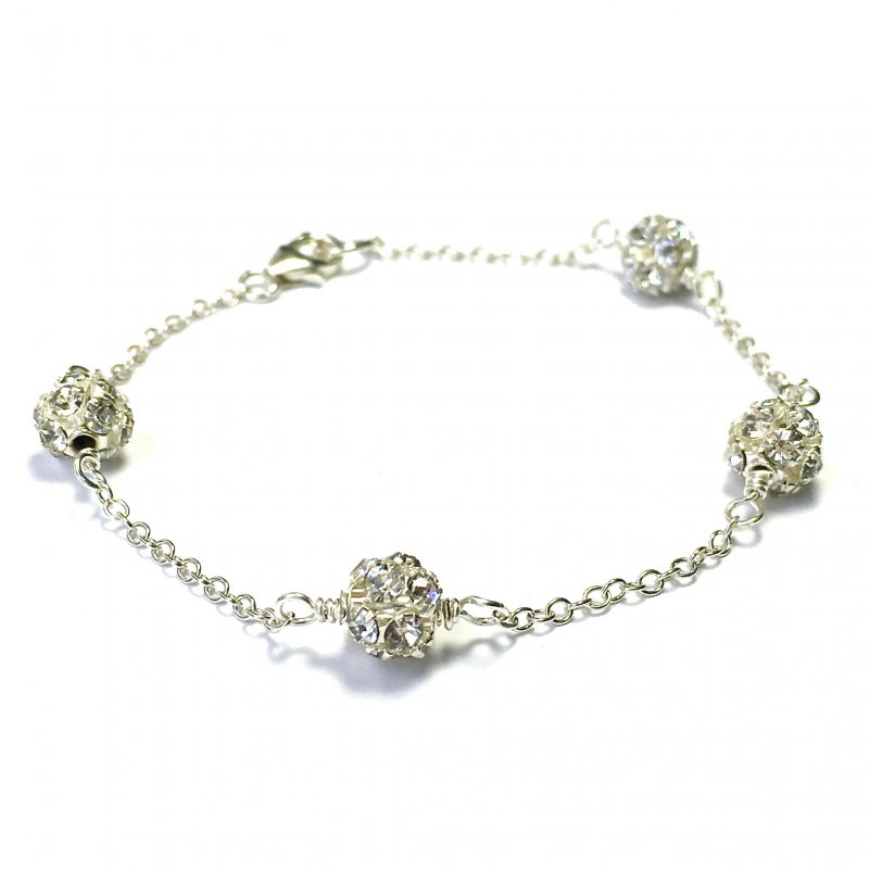 Pave Bracelet Sterling Silver Chain Crystal Ball