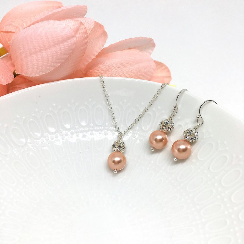 Rose Peach Pearl Bridesmaid Jewelry