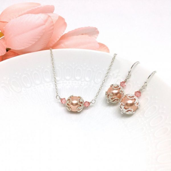 Rose Peach Swarovski Pearl Necklace For Bridesmaids Sterling Silver Chain