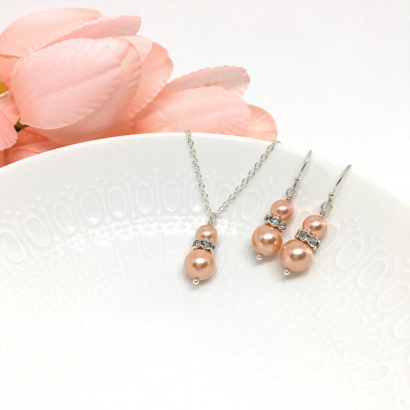 Coral Pearl Necklace Pinky Peach Bridesmaid Jewelry