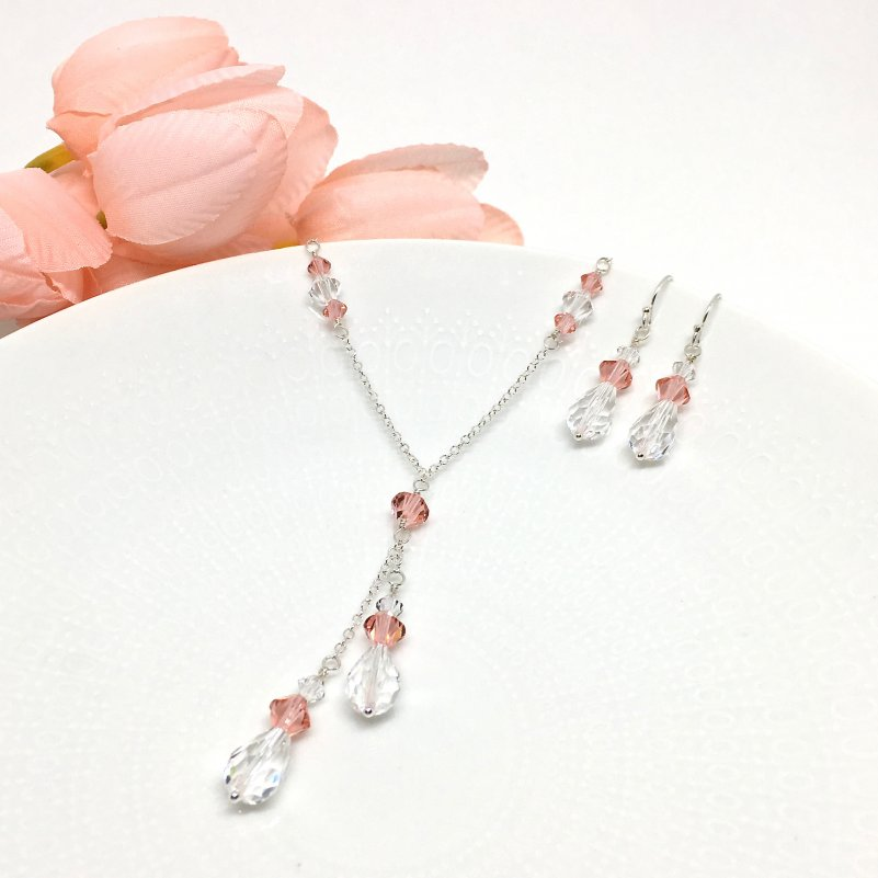 Sterling Silver Rose peach lariat necklace bridesmaid Jewelry