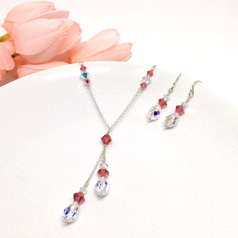 Padparadscha Jewelry Watermelon Color Bridesmaid Jewelry Swarovski Crystal Lariat necklace
