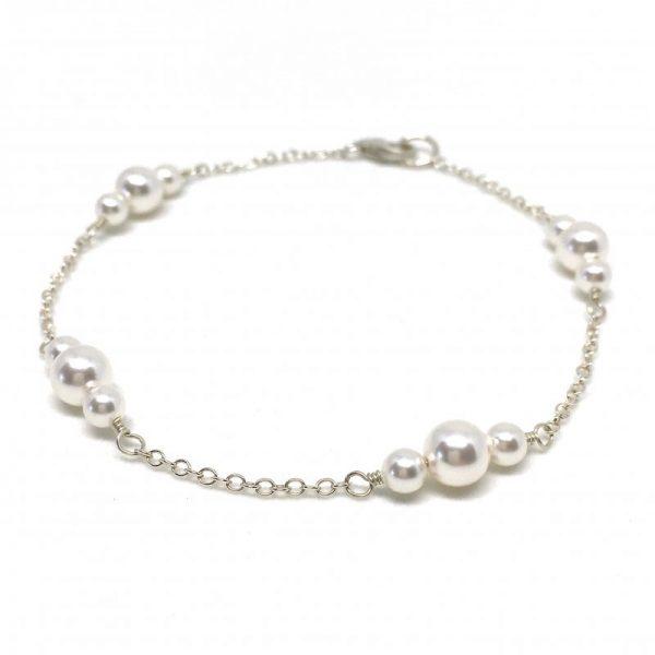 Dainty Pearl Bracelet Bridal Swarovski Pearl Between Sterling Silver Chain