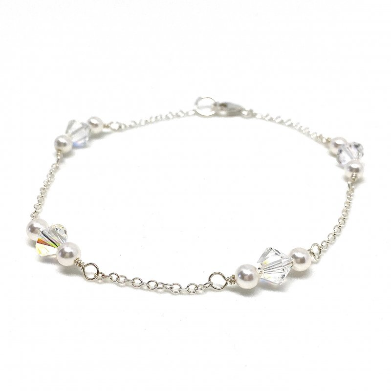 Wedding Day Bracelet Swarovski Pearl with Crystal Solid Sterling Silver