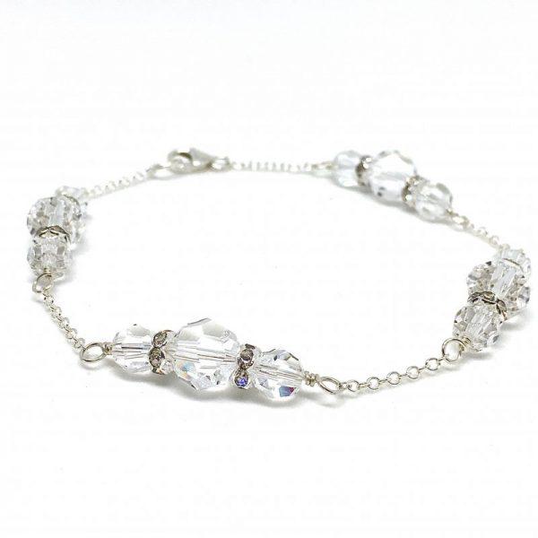 Bracelet For Bride Round Swarovski Crystal Sterling Silver Chain