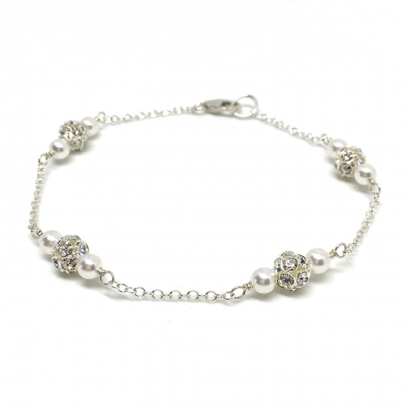 Pave Rhinestone bridal bracelet with Tiny Pearl Accents Sterling Silver