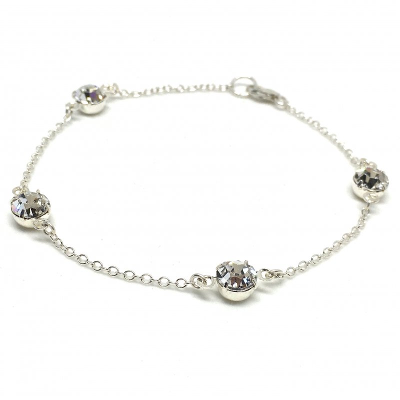Swarovski Crystal Bracelet Sterling Silver Chain Crystal Links