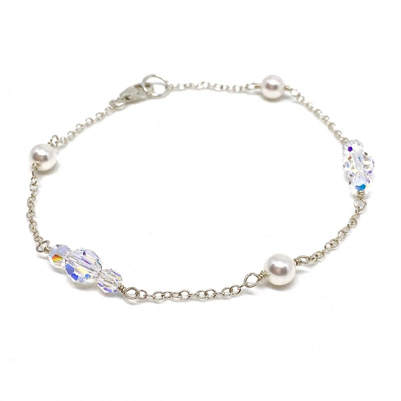 Swarovski Round Crystal and Pearl Bridal Bracelet