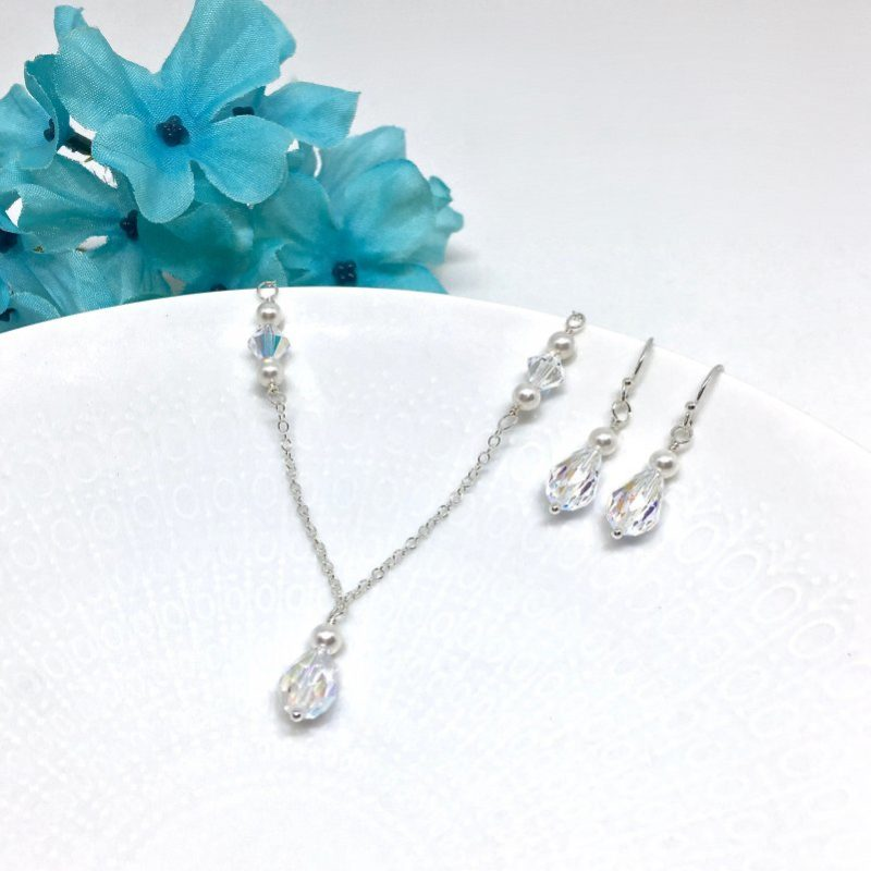 Bridal Jewelry Drop Crystal and Pearl
