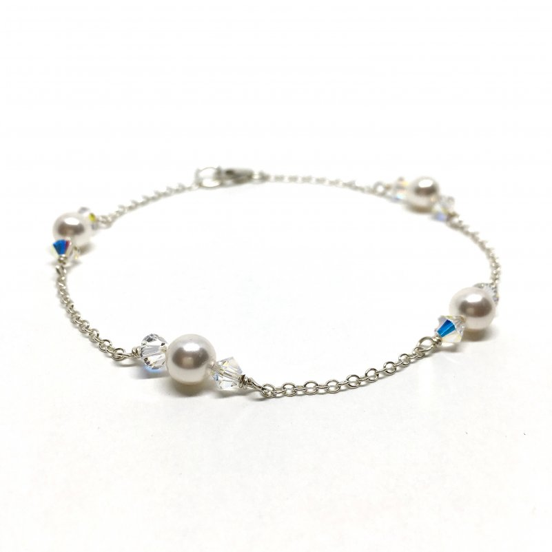 Silver Pearl Bracelet Swarovski pearl with Crystal accents and sterling silver chain Bridal Bracelet
