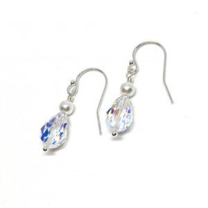 Crystal and Pearl Drop Earrings Bridal Sterling Silver Swarovski Teardrop