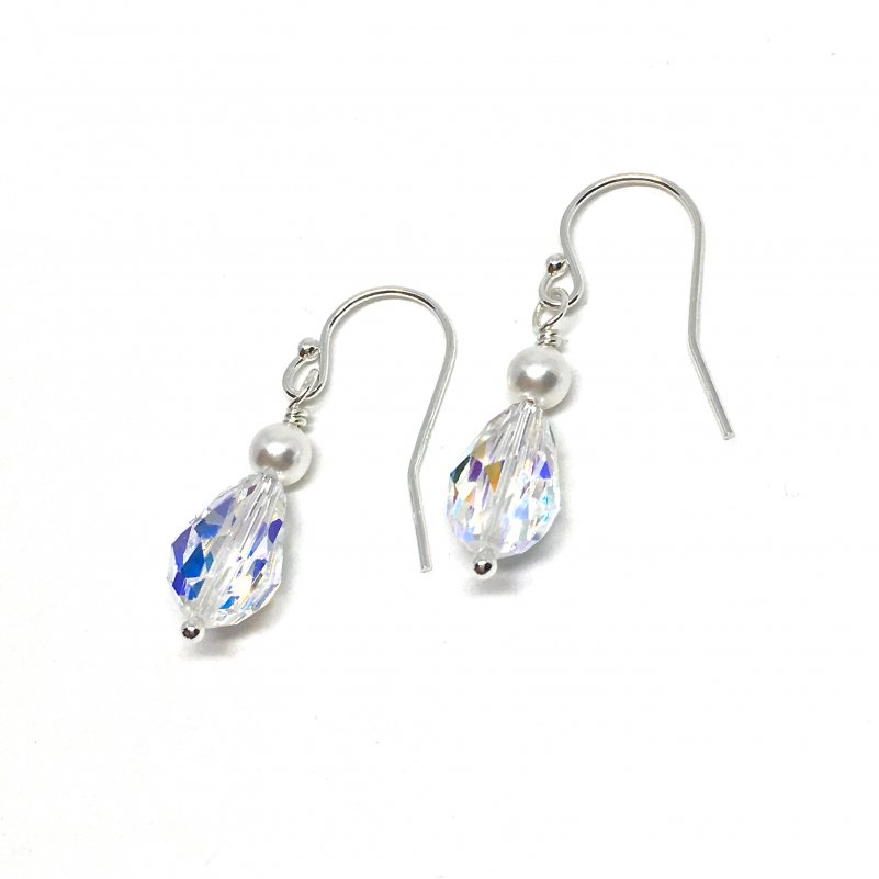 Crystal and Pearl Drop Earrings Bridal Sterling Silver Swarovski Teardrop