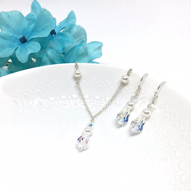 crystal and pearl bridal jewelry Sterling Silver
