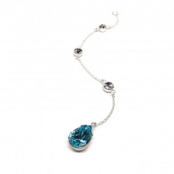Something Blue Bridal Backdrop Necklace Swarovski Crystal Pear Shaped Sterling Silver Attachment