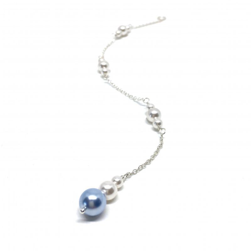 Something Blue bridal jewelry blue pearl bridal necklace extension