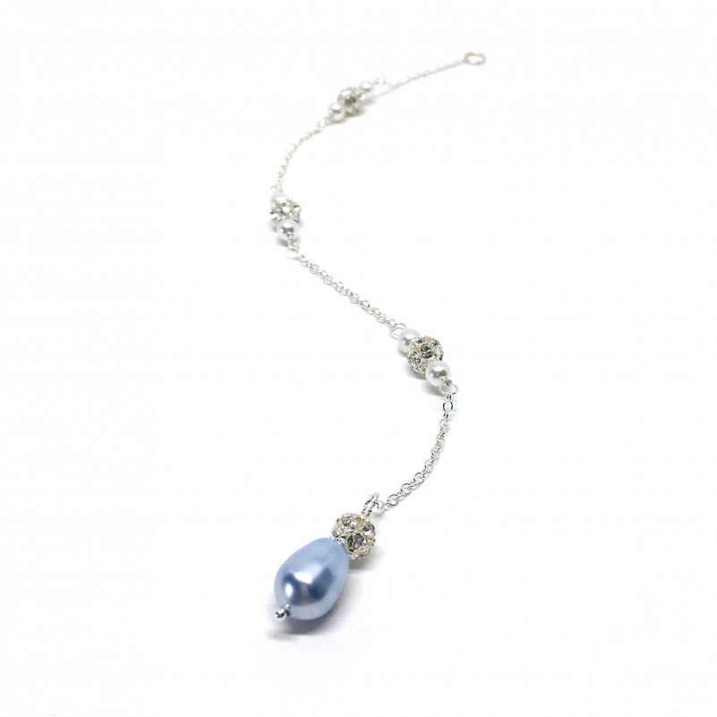 Something Blue Jewelry Bridal Back Jewelry Teardrop Pearl crystal ball