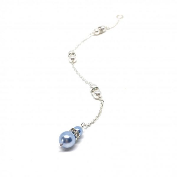 Something blue for bride back chain with pearls wedding day jewelry
