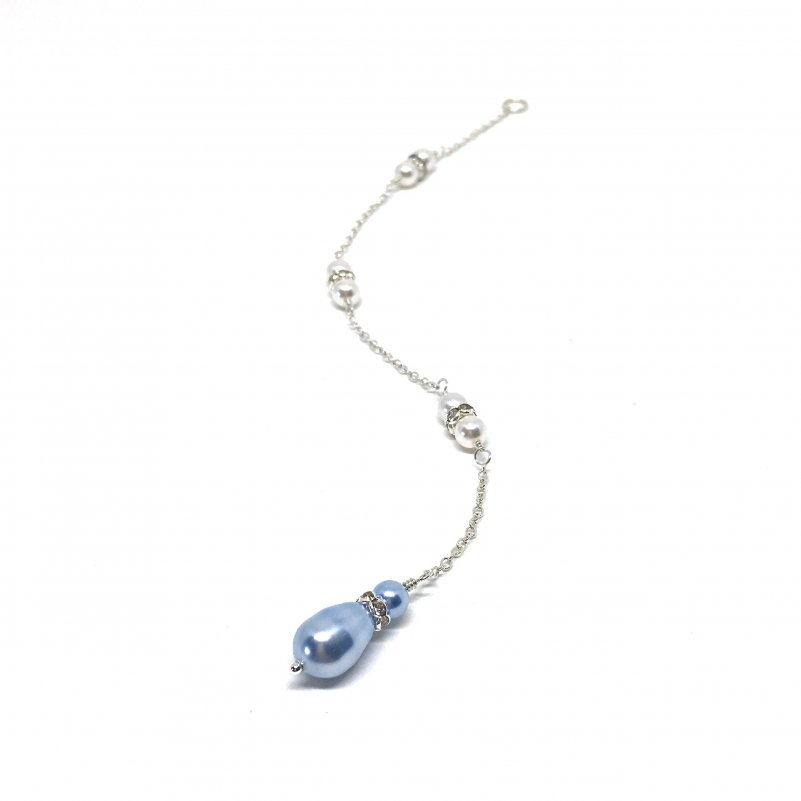 Blue Bridal Jewelry Blue Teardrop Pearl Backdrop Necklace