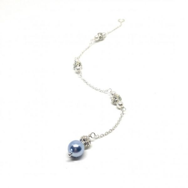 Blue Wedding Jewelry Sparkly Backdrop Bridal Necklace
