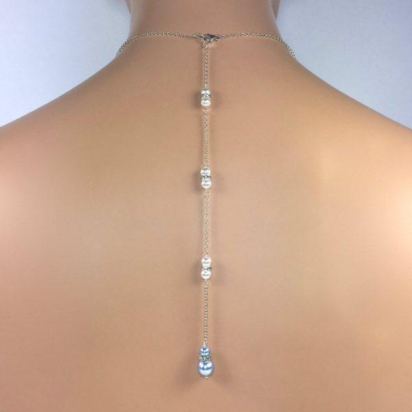blue Pearl Bridal Back Necklace