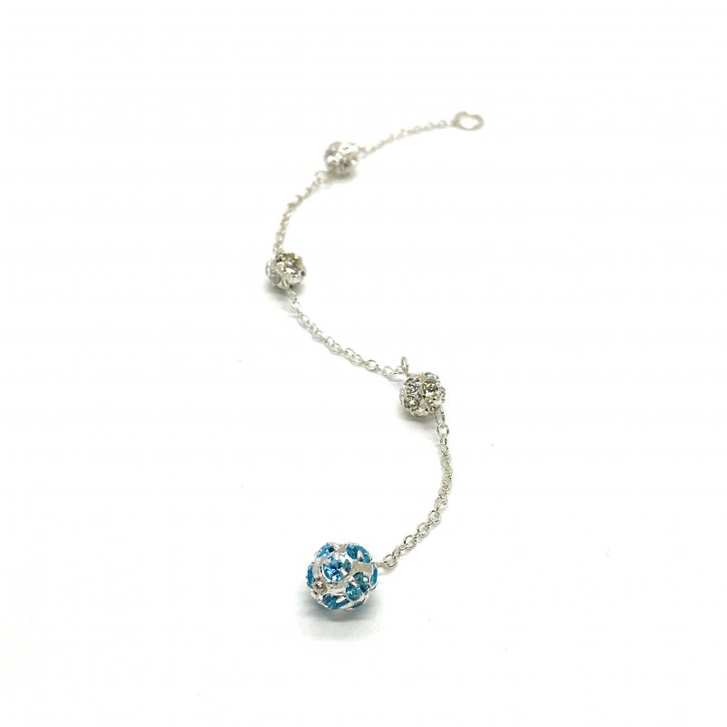 light blue wedding back necklace blue pave crystal ball