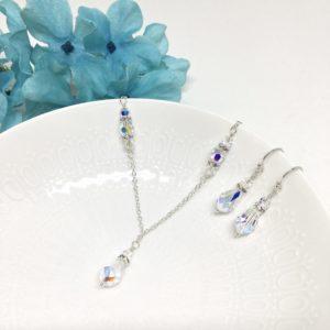Flower Girl Jewelry Teardrop crystal Necklace
