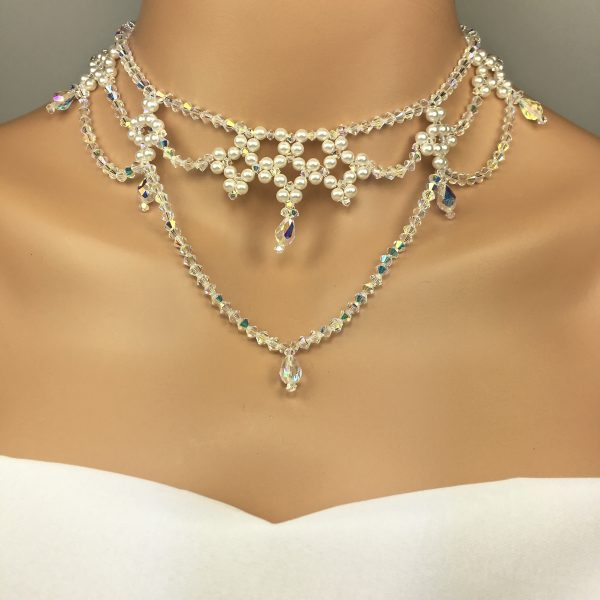Statement Choker Bridal Choker Drape Necklace Swarovski Pearl and crystal beaded necklace and earrings