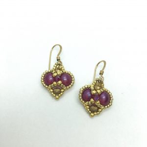 Gold and Fuchsia Indian Style Beaded Earrings